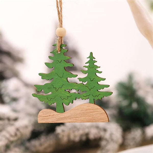 New Year Natural Wood Christmas Tree Ornament