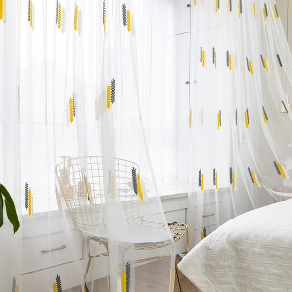 Classic Tri-color Linen Embroidery Window Sheer Curtains
