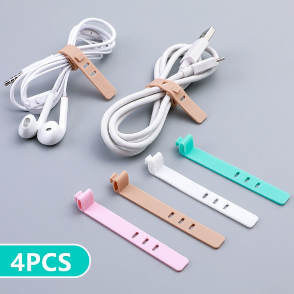 Silicone Anti-lost Cable Holder Organizer 4pcs