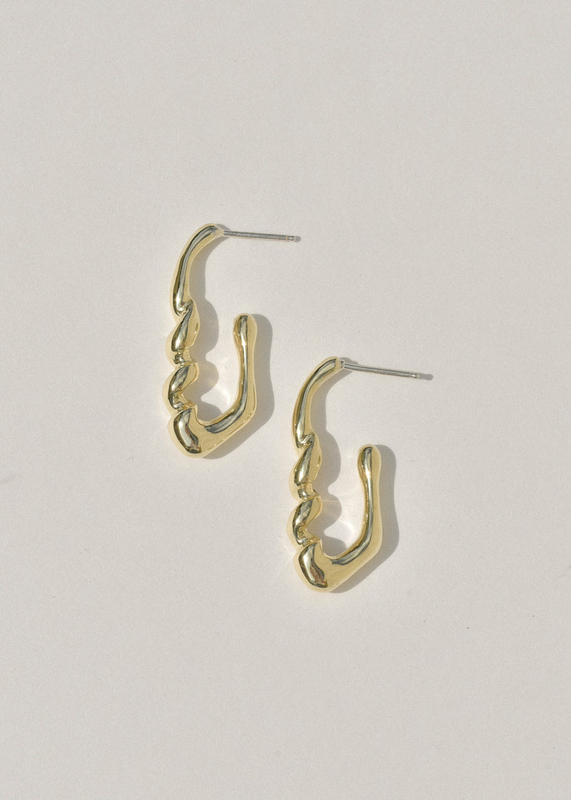 Brass Small Corkscrew Earrings