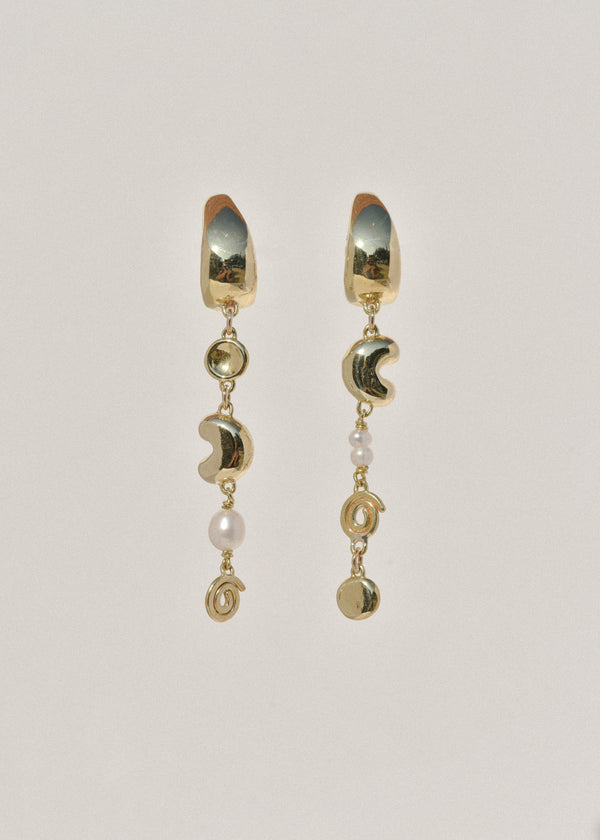 Brass Doodad Charm Earrings