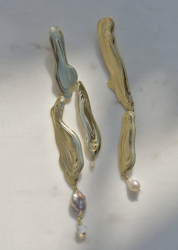 Brass Current Earrings