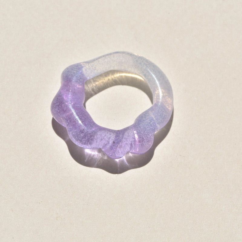 Lavender / Opal Half Twist Glass Ring