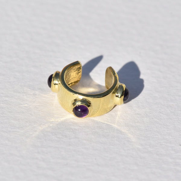 Brass and Amethyst Bubble Ear Cuff