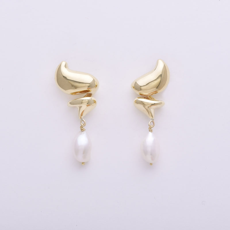 Brass Dollop Studs with Pearl