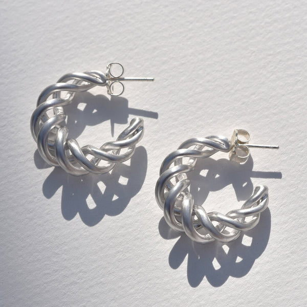 Large Sterling Silver Twisted Hoops