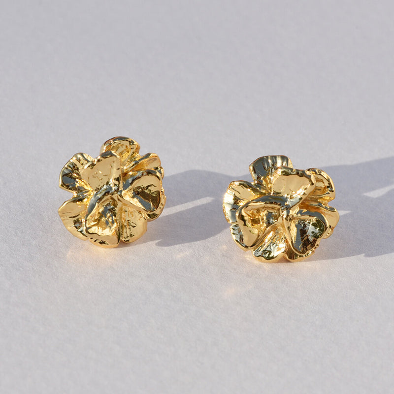 Gold-Plated Poppy Studs