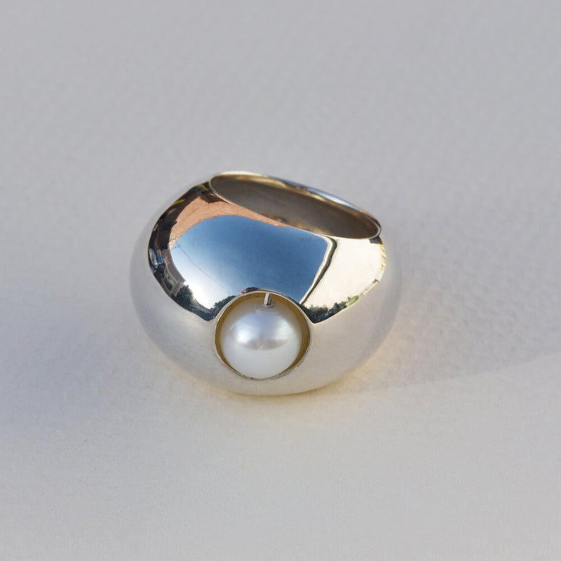 Sterling Silver Pearl Roller Ring