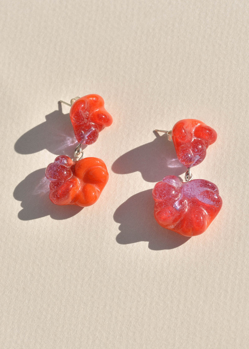 Cayenne and Lavender Glass Rope Earrings