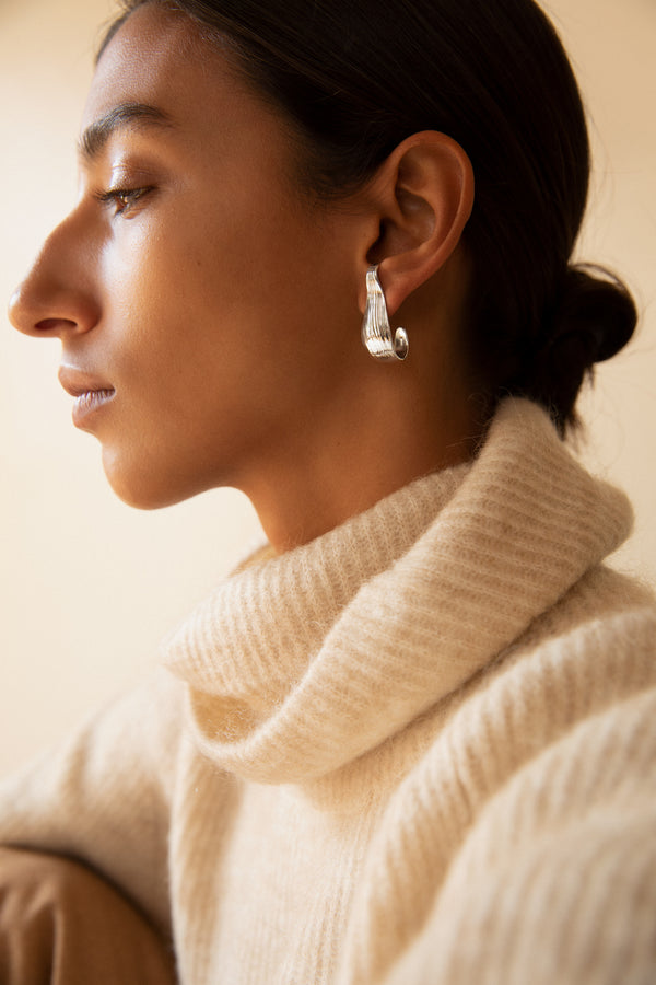 Sterling Silver Husk Hoops