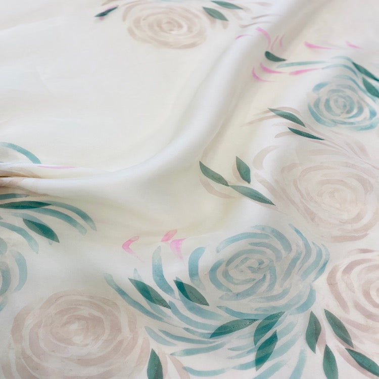 English Couture Hand Painted Organza Embroidery  $690p/metre
