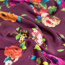 Load image into Gallery viewer, Silk Satin Maroon Floral $179 p/metre