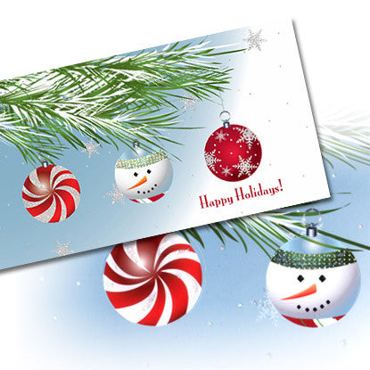 Holiday Chic Christmas Ornaments Note Card