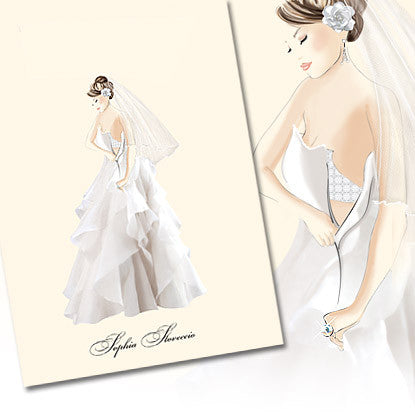 Très Chic Gown Thank You Note Card with Swarovski Crystals