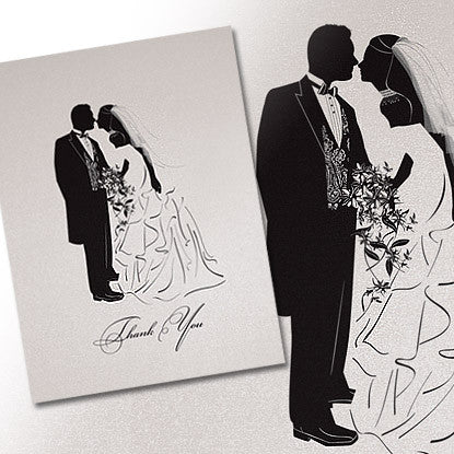 LifeS Shadows Traditional Wedding Thank You Note Card  Bubbles N