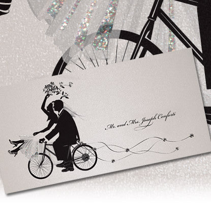 Life's Shadows© Traditional Wedding Bicycle Note Card