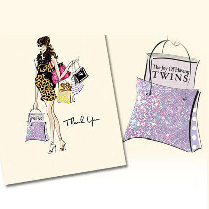 Très Chic Mamma Twins Thank You Note Card