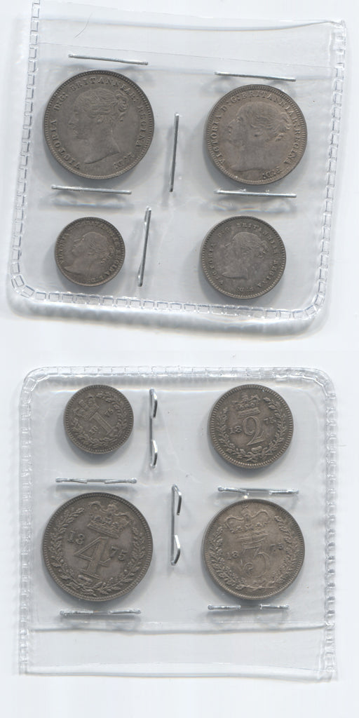 1875 Victoria Young Head Maundy Set UNC
