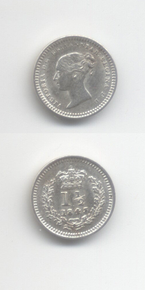 1843 Silver 1 1/2 Pence AUNC