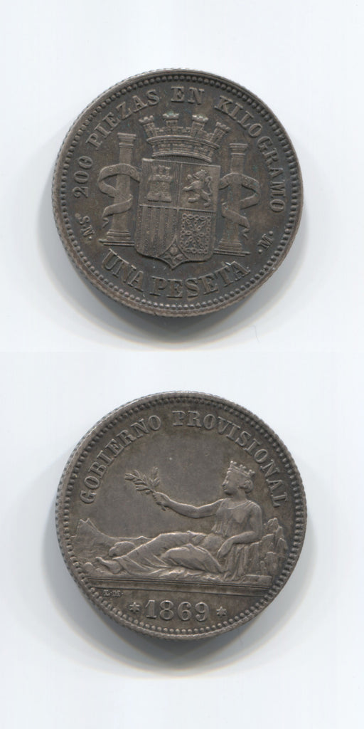 1869 Spain One Peseta AEF