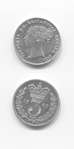 1845 Silver Threepence AUNC