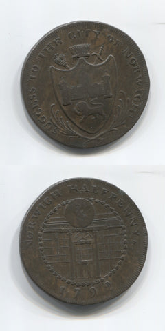 1792 Norfolk Norwich Halfpenny.VF