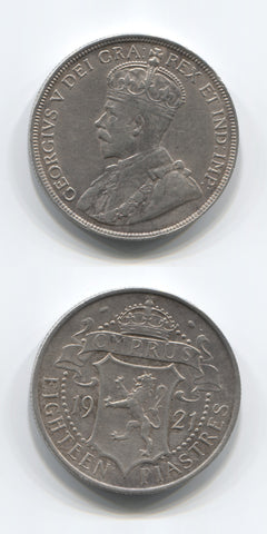 1921 Cyprus Silver Eighteen Piastres GVF