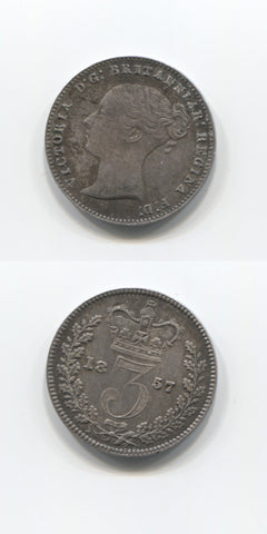 1857 Silver Threepence  AUNC
