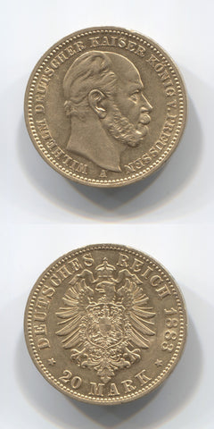1883 A Prussia Gold 20 Marks EF
