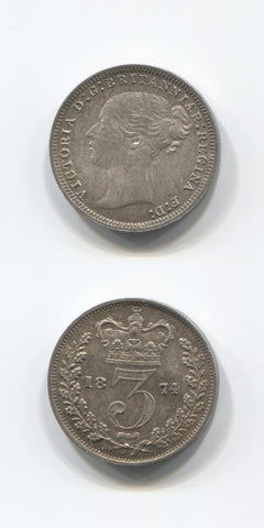 1874 Silver Threepence UNC