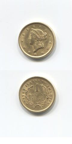 1851 USA Gold One Dollar EF