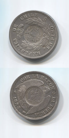 1894 Guatemala C/Marked Coinage Peso AUNC