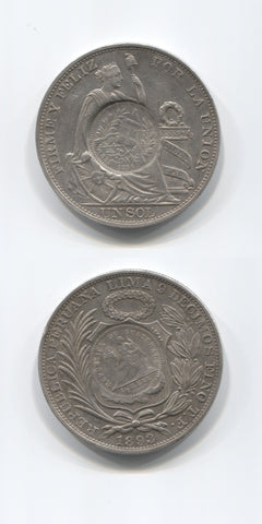 1894 Guatemala Countermarked Coinage Peso  EF