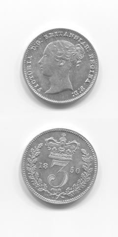 1850 Silver Threepence UNC