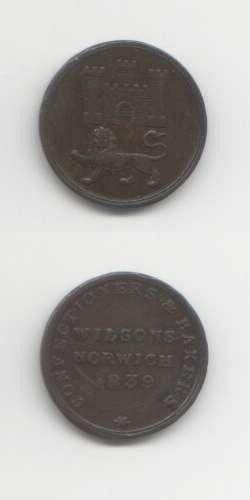 1839 Norfolk VF Tokens 19th Century Silver & Coin Weights
