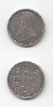 1894 Sixpence VF World Coins South Africa