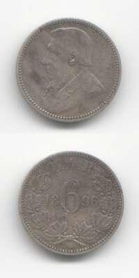 1896 Sixpence VF World Coins South Africa