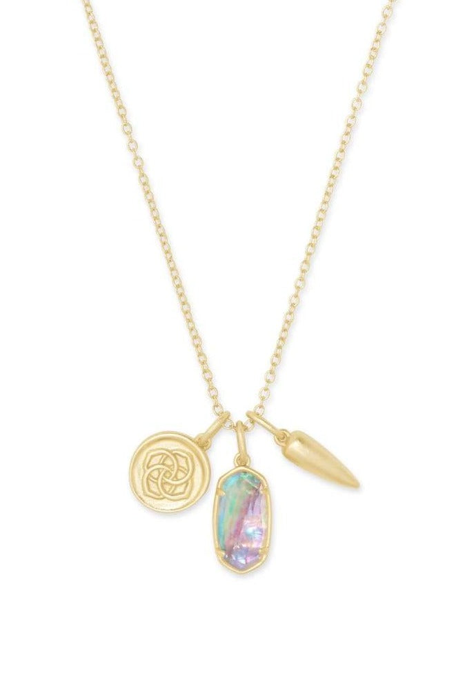 Kendra Scott Dira Coin Charm Necklace Gold Lilac Abalone