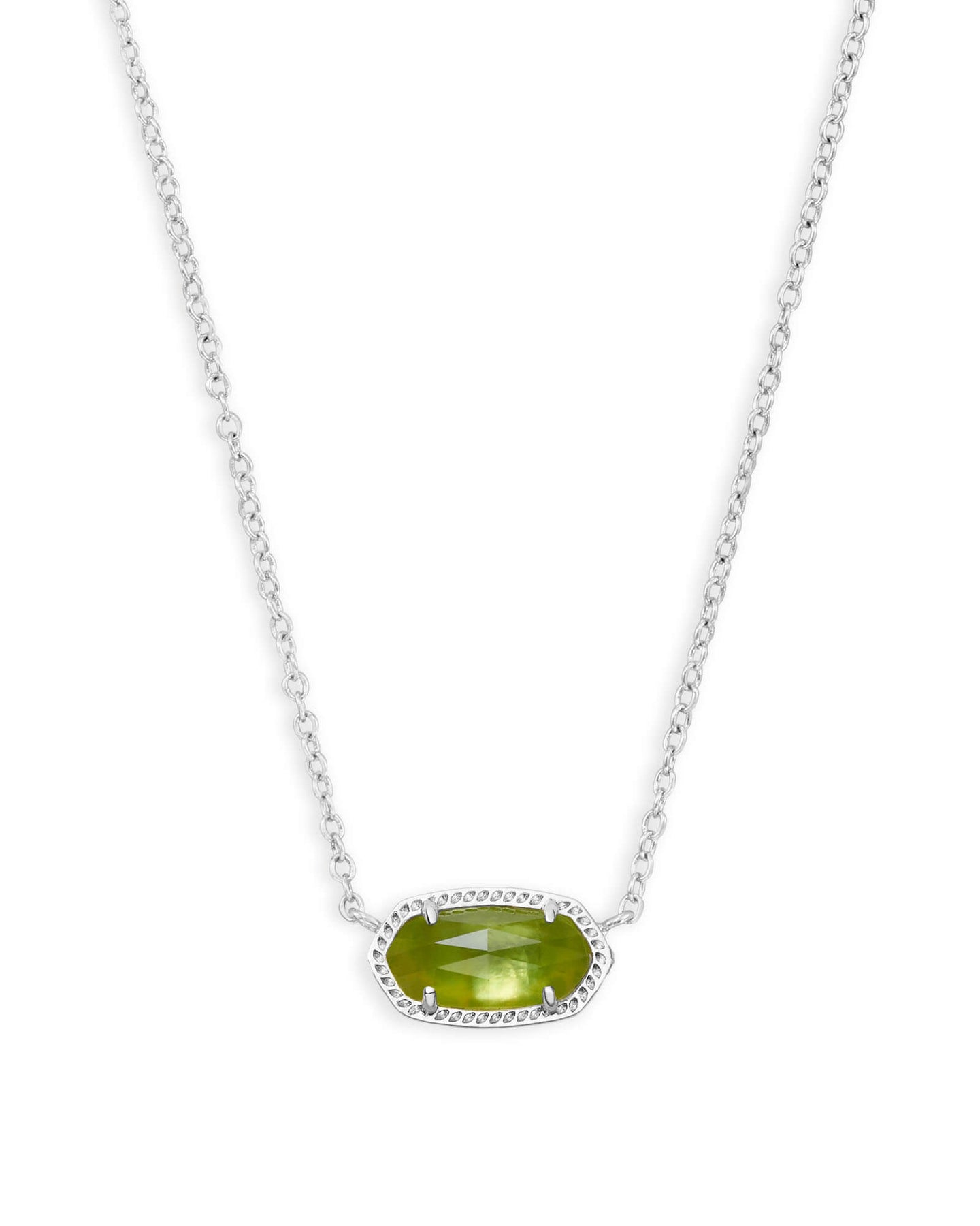 Kendra Scott Elisa Necklace - Rhodium Peridot Illusion