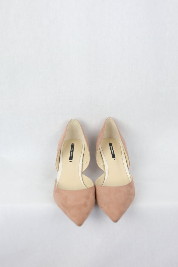 Faux Suede Pointed Low Heels