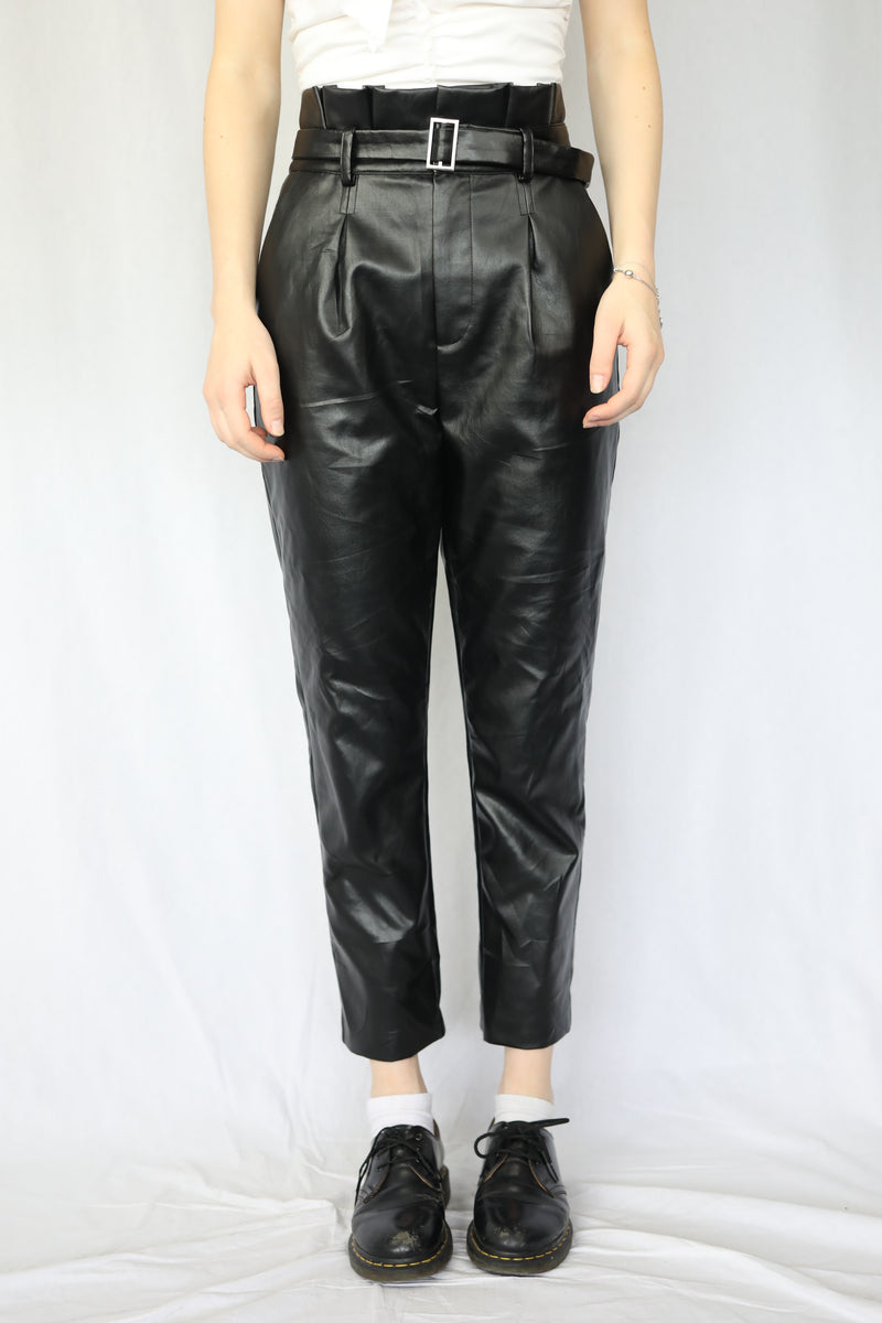 Belted Paper Bag Waist PU Pant