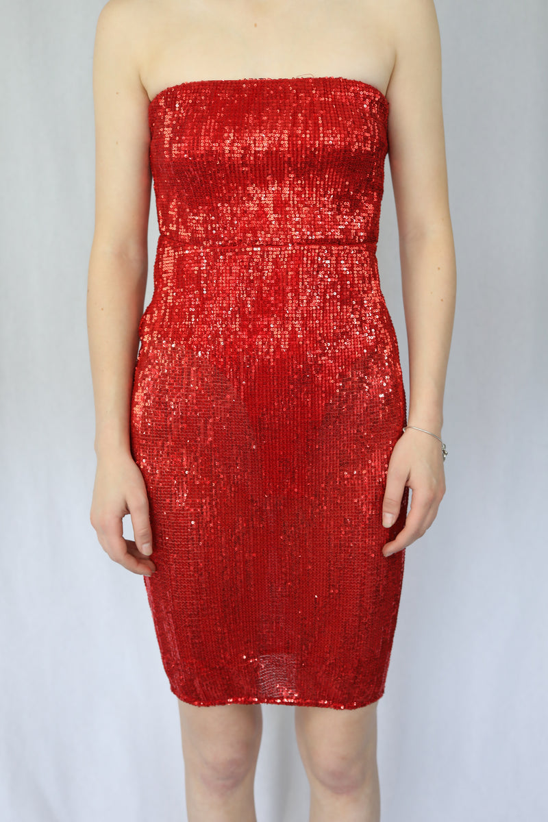 Strapless Sequin Dress