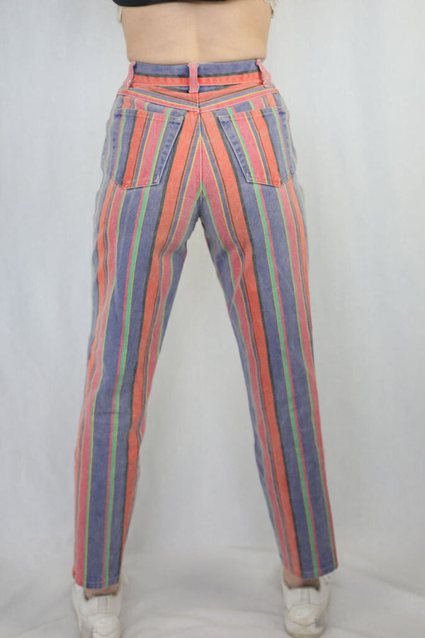 Vintage striped denim jeans