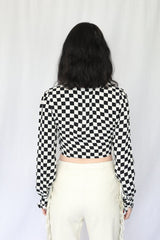 Checker Cropped Blouse