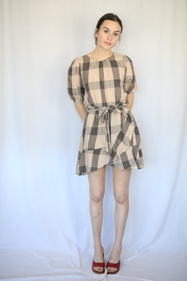 Plaid Elasticated Trim Wrap Mini Dress