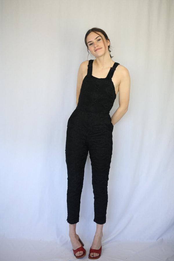 Silk Embroider Crochet Fitted Jumpsuit