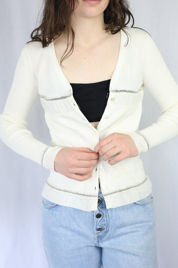 Ribbed Silver Stitched Cardigan