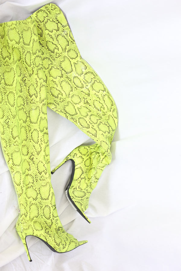 Over the Knee Snake print Stilettos