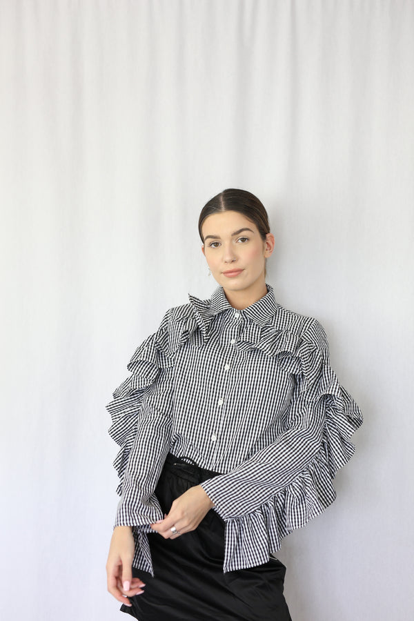 Gingham Frill Top