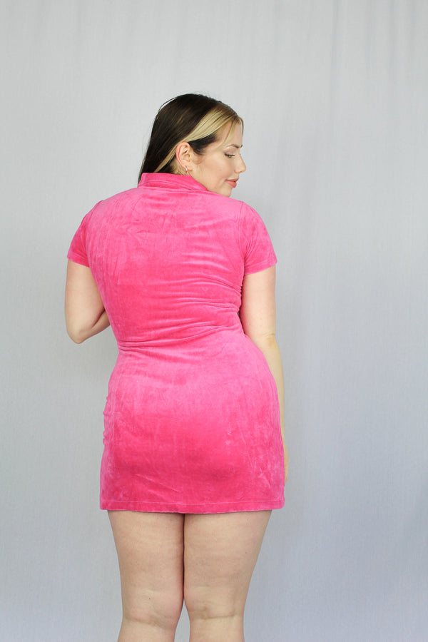 Velour zip-front mini dress